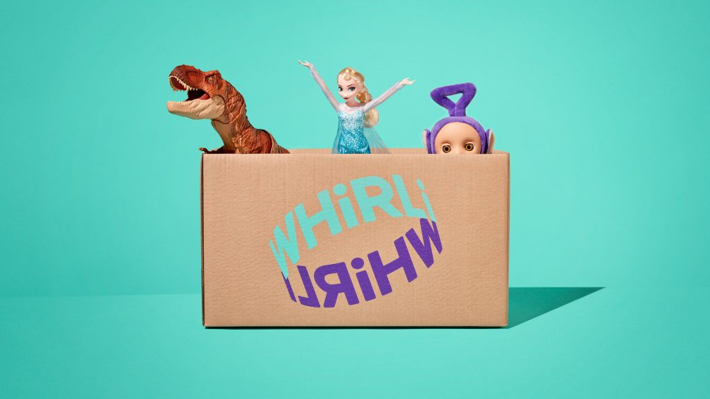 Whirli box of toys with welcoming gesture